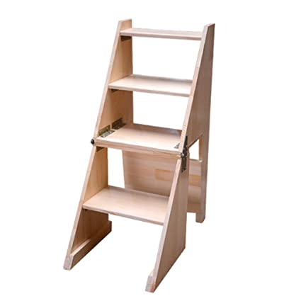 Ordinaire Amazon.com: Sevts Wooden Folding Ladder Stool Multifunctional Indoor  Staircase Chair Kitchen Library Step Stool Furniture (Color : Wood Color):  Garden U0026 ...