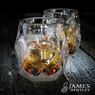 Double Wall Whiskey Glasses set+FREE Sphere Ice Ball Mold x2 for whisky glasses set, Set of 2, Unique Tumblers for Drinking Scotch, Bourbon, Brandy, Liquor, Luxury spirit, Bar set