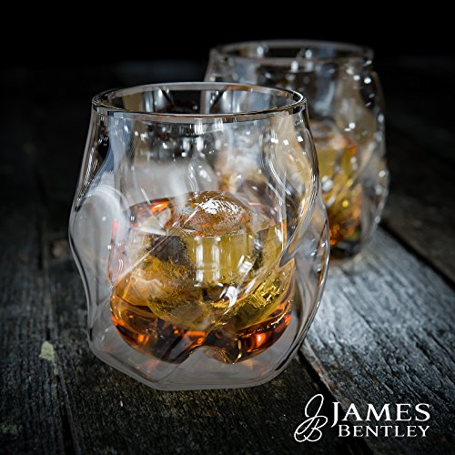 James Bentley Whiskey Glasses set+FREE Sphere Ice Ball Mold x2 for whisky glasses set,Set of 2,Unique Tumblers for Drinking Scotch,Bourbon,Brandy,Liquor,Bar set,double wall luxury whiskey glass (Tequila Two Fingers)