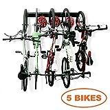 Bike Storage Garage Rack Holds 5 Bicycles Vertical Wall Mount Bike Hanger Hooks Indoor Space Saving (8 Hooks and 3 Rails)