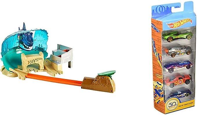 Hot Wheels - Pack Pista Tiburón Megadestrucción + Pack de 5 coches , color/modelo surtido: Amazon.es: Juguetes y juegos