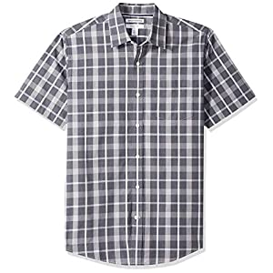 Amazon Essentials Men's Regular-Fit Short-Sleeve Plaid Casual Poplin Shirt 25