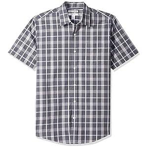 Amazon Essentials Men's Regular-Fit Short-Sleeve Plaid Casual Poplin Shirt 27