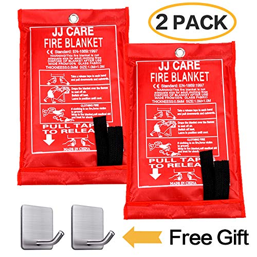 JJ CARE [Pack of 2] Fire Blanket Fire Suppression Blanket Made from Fiberglass Cloth - Suitable for Camping, Grilling, Kitchen Safety, Car and Fireplace Fire Retardant Blanket for Emergency 40