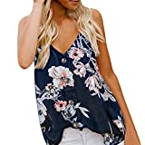 iZHH Womens Tank Tops Comfy Casual Sleeveless V Neck Button Floral Print Tank Top Loose Casual Shirts Blouse Navy