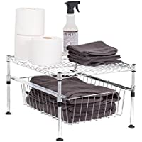 Internets Best 2-Tier Mini Wire Utility Shelving with Drawer | Chrome | Storage Shelf | Adjustable Rack Unit | Kitchen Bathroom Pantry Laundry Storage | Under the Sink Organization | Cabinets