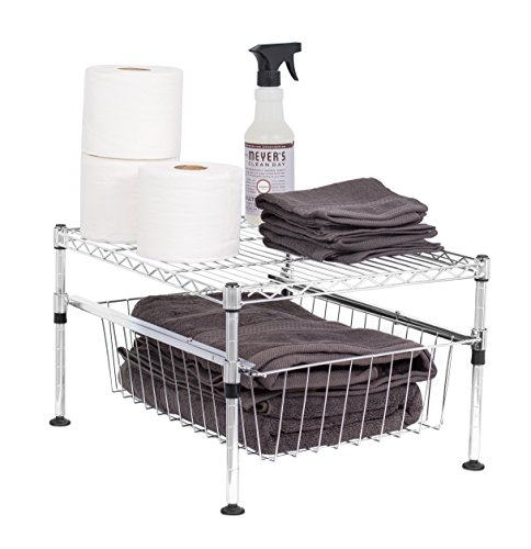 Bathroom Cabinets Racks - Internet's Best 2-Tier Mini Wire Utility Shelving with Drawer | Chrome | Storage Shelf | Adjustable Rack Unit | Kitchen Bathroom Pantry Laundry Storage | Under the Sink Organization | Cabinets