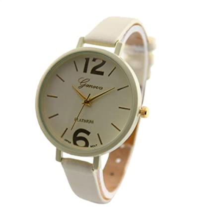 Relojes Pulsera Mujer,Xinan Ginebra Imitación Cuero de Cuarzo Analógico Relojes (Beige)