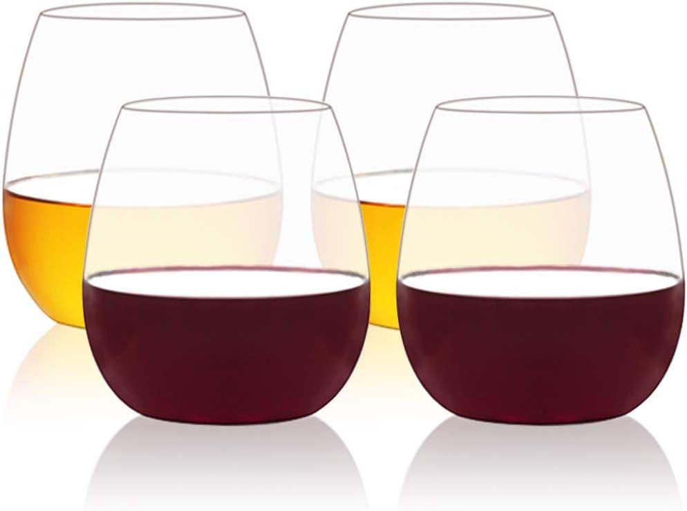 MICHLEY Vaso de vino irrompible de plástico tritan Vaso para beber Vaso sin BPA 535ml Juego de