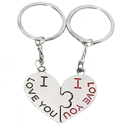 Hacoly 1 Par I Love You Corazón Pareja Llavero Amor Beso ...