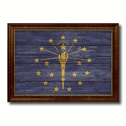 (Indiana State Flag Textured Canvas Print with Brown Picture Frame Gifts Home Decor Wall Art Decoration, 27