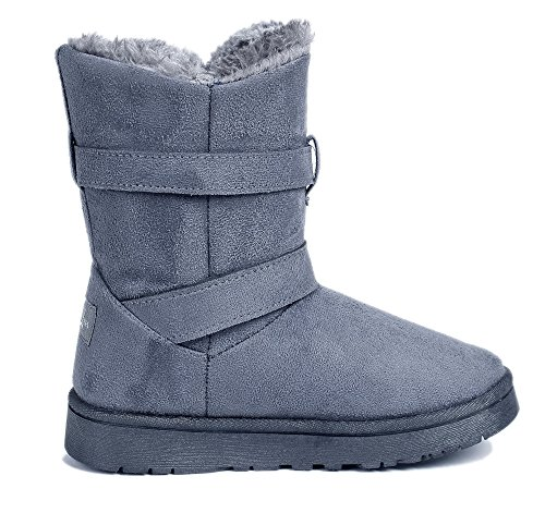 AgeeMi Shoes Women's Closed Toe Mid Calf Warm Suede Snow Boots Double Buckle Gray