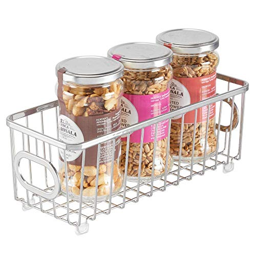 mDesign Metal Farmhouse Kitchen Pantry Food Storage Organizer Basket Bin - Wire Grid Design - for Cabinets, Cupboards, Shelves, Countertops, Closets, Bedroom, Bathroom, Small - Chrome (Baskets Wire Small)