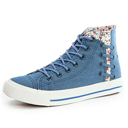 Women's Flat Canvas Sneakers Floral Comfortable Shoes Blue Casual - 1