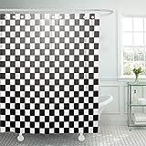 Breezat Shower Curtain Chess Abstract Checkered