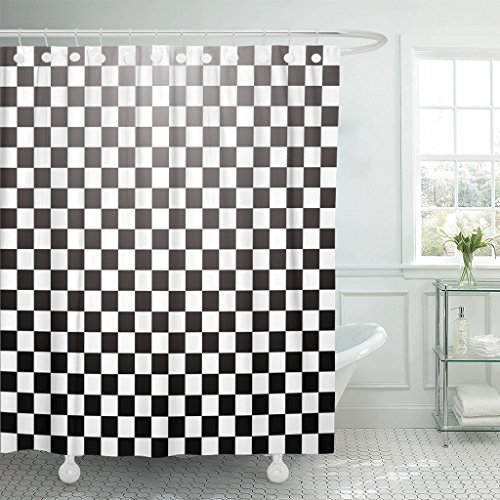Breezat Shower Curtain Chess Abstract Checkered with Radial Gradient in Black and White Grid Waterproof Polyester Fabric 72 x 72 Inches Set with Hooks -