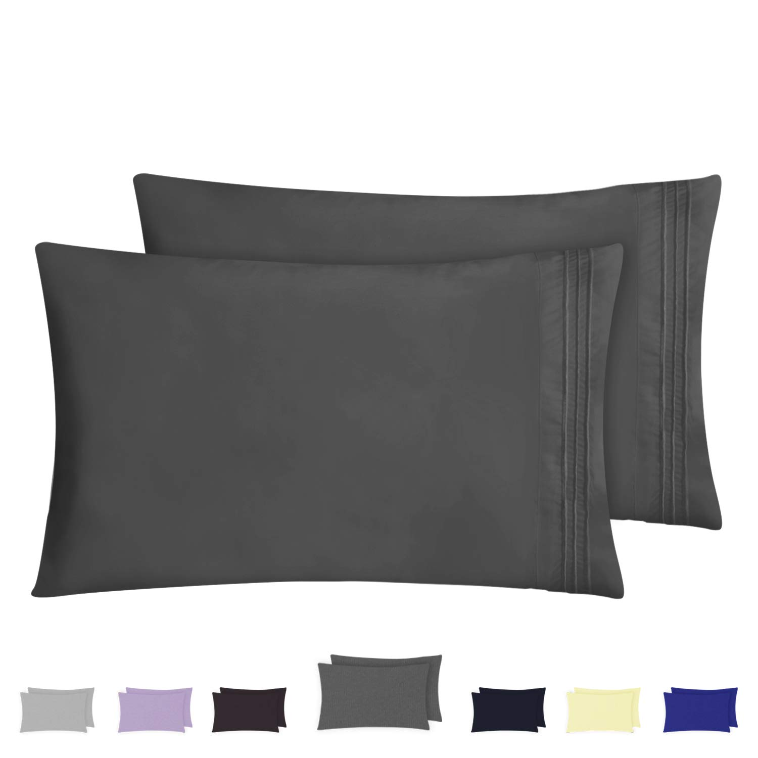 HOMEIDEAS Pillow Cases (Standard, Lavender) - 100% Brushed Microfiber, Ultra Soft - Envelope Closure End - Wrinkle, Fade, Stain Resistant - Set of 2