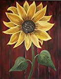 Wicked Women 100% Hand Painted Sunflower Picture Acrylic 16x20 Wood Framed Canvas Wall Art Rustic Home Decor