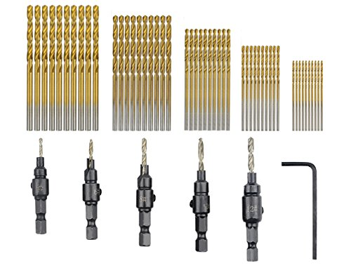 TOVOT 55 PCS HSS 4241 Countersink Cone Drill Bit Set and High Speed Steel HSS Titanium Twist Drill Bits (1 mm-3 mm)