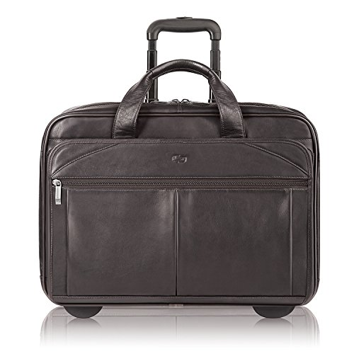 (Solo New York Walker Rolling Laptop Bag. Premium Leather Rolling Briefcase for Women and Men. Fits up to 15.6 inch laptop - Espresso)