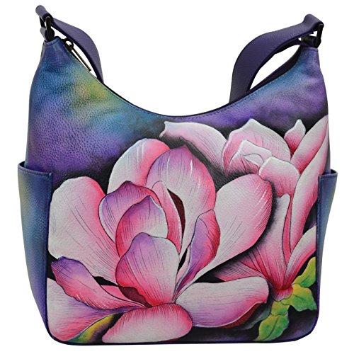 Anuschka Women's Genuine Leather Handbag | Hand Painted Original Artwork | Classic Hobo With Side Pocket | Magnolia Melody ()