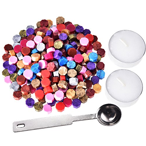 230-Pieces-Octagon-Sealing-Wax-Beads-Sticks-with-2-Pieces-Tea-Candles-and-1-Piece-Wax-Melting-Spoon-for-Wax-Stamp-Sealing