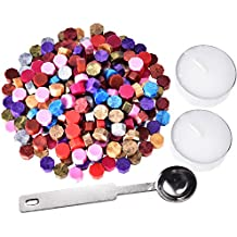 Hestya 230 Pieces Octagon Sealing Wax Beads Sticks with 2 Pieces Tea Candles and 1 Piece Wax Melting Spoon for Wax Stamp Sealing (12 Colors)