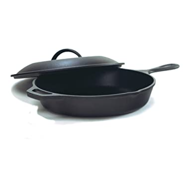 Lodge Seasoned Cast Iron Skillet w/Cast Iron Lid (12 Inch) - Cast Iron Frying Pan With Lid Set.