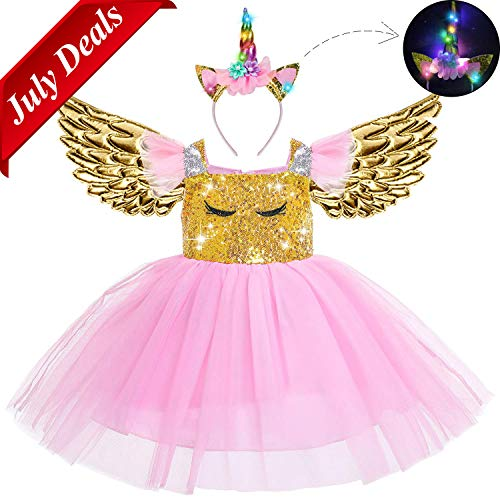 Beauta Unicorn Costume Cosplay Princess Dress up Birthday Pageant Party Dance Outfits Evening Gowns (1-2 Years(Tag 90), Pink)]()