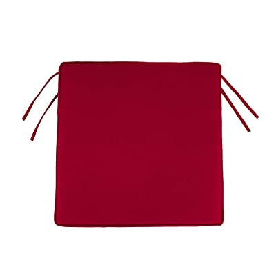 Plow & Hearth Classic Polyester Outdoor Chair Cushions with Ties, 16'' sq. x 3'' - Barn Red : Garden & Outdoor