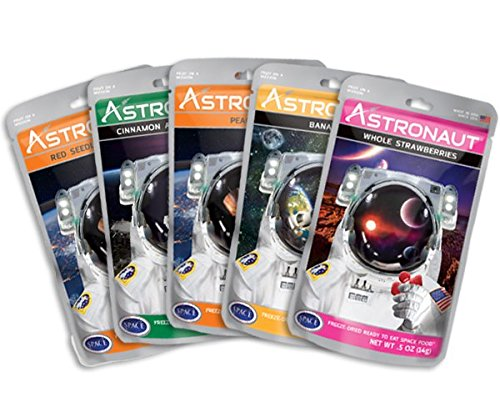 Astronaut Foods Freeze-Dried Fruit Variety Sampler, NASA Space Dessert, with Strawberries, Bananas, Peaches, Apples and Grapes, 5 Count