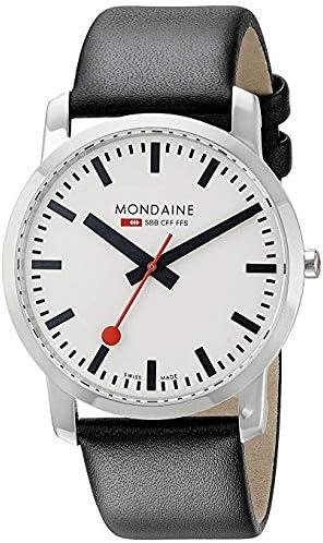 Mondaine SBB Simply Elegant 41mm A6383035011SBB Reloj de Pulsera Cuarzo Hombre Correa de Cuero Negro