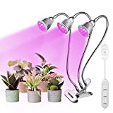Grow Light, 15W Triple Heads LED Plant Grow Lamp UV Plant Light with Rotary Dimmer Switch, Full Spectrum 360° Swivel Gooseneck Individual Switch Control (Rotary Dimmer) Review
