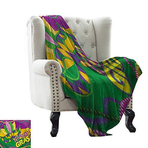 LsWOW Plush Blanket Mardi Gras,Colorful Bands with Vivid Beads Feathers Mask and Crown Symbol,Magenta Lime Green Yellow Lightweight Microfiber,All Season for Couch or Bed -