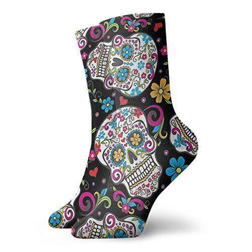 Flower Sugar Skull Crew Socks Casual Socks Funny For Sports Boot Hiking Running Etc.