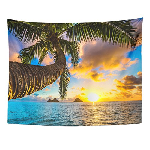 Paradise Sunset Tapestry - VaryHome Tapestry Paradise Beautiful Lanikai Kailua Sunrise in Hawaii Sunset Beach Home Decor Wall Hanging for Living Room Bedroom Dorm 60x80 Inches