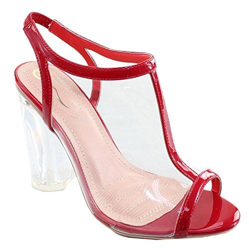 Elegant Skor Kvinna Klar Lucite T-rem Slingback Chunky Klack Sandal Röd