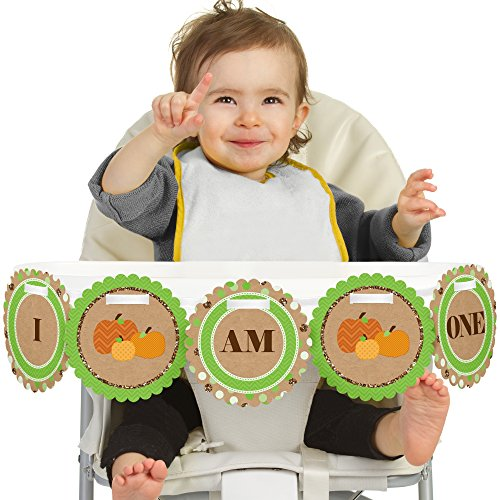 Big Dot of Happiness Pumpkin Patch 1st Birthday - I Am One - First Birthday High Chair Banner (Pumpkin Chair)