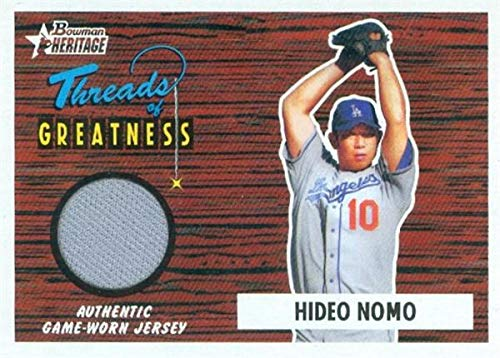 2004 Bowman Autographs - Hideo Nomo baseball card player worn jersey patch (Los Angeles Dodgers) 2004 Bowman Heritage Threads of Greatness #TGHN
