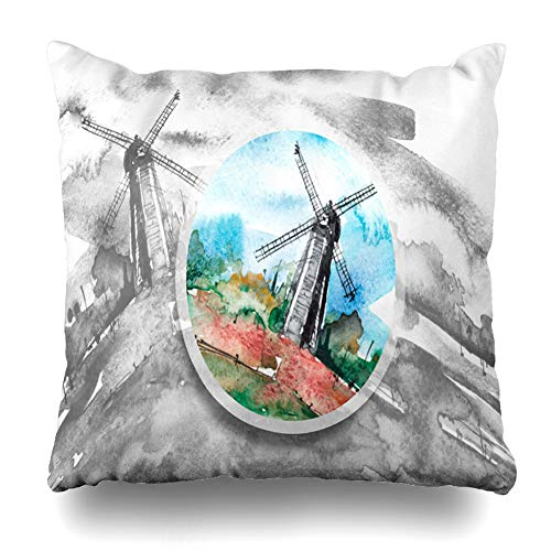 Ahawoso Throw Pillow Covers Cases Bread Blue Watercolor Painting Mill Ecology Agriculture Green Artistic Black Design Flour Home Decor Cushion Square Size 16