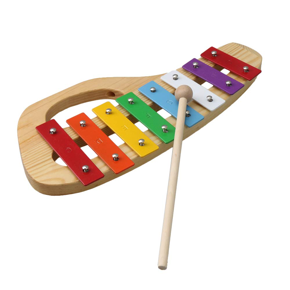 Yibuy Colorful Xylophone with Wooden Mallets Eight-Tone Piano Early Education