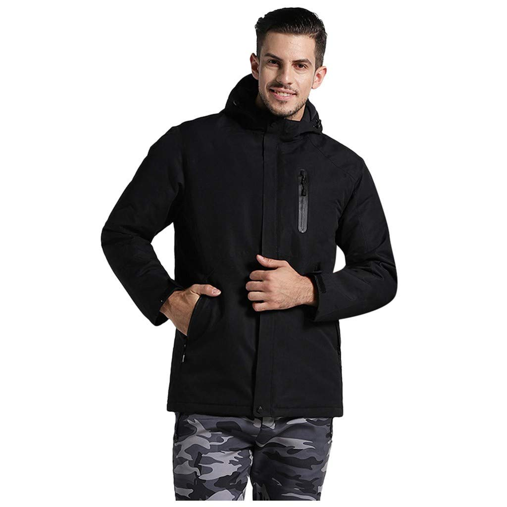 Hmlai Clearance Men's Winter Warm Hooded Jacket Thicken Three-Speed Temperature Control USB Charging Heating Full Zip Coat (L,Black) by Hmlai Clearance