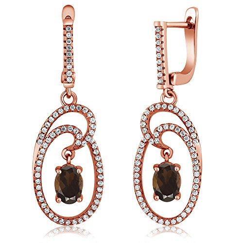Gem Stone King 2.94 Ct Oval Brown Smoky Quartz 18K Rose Gold Plated Silver Earrings