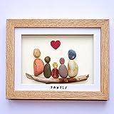 Family of Five - Handmade Pebble Art Picture - Light Frame