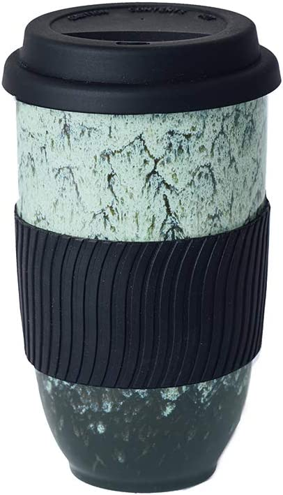 UNIVERSAL TRAVELLER Ceramic Coffee Travel Mug with Silicon Lid and Sleeve -16oz (480ml), Large. Eco-friendly. Portable, Reusable to-go Coffee Mug, Convenient and Uniquely Styled with Green Kiln Glaze