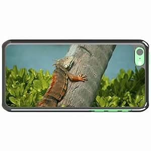 Customized Apple iPhone 5C PC Hard Case Diy Personalized DesignCover Iguana lizard tree grass White