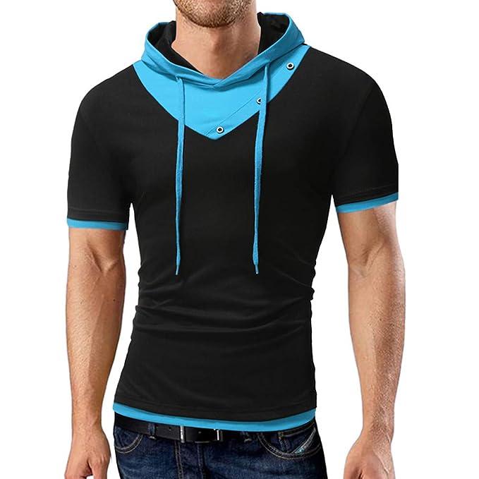 BBestseller Hoodie Colorido Jersey Patchwork Sudadera con Capucha de Manga Corta Blusa Personalizada Camiseta Camisas de Hombre: Amazon.es: Ropa y ...