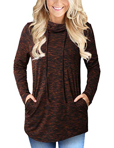 Faddare Activewear Long Sleeve Tops for Women,Funnel Neck Shirt,Rust Red S