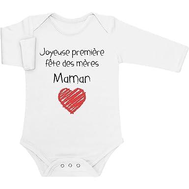a04420ff201df Joyeuse première fête des mères Maman Cadeau Body Bébé Manche Longue 0-3  Mois Blanc