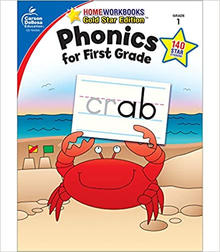 Carson Dellosa Phonics for First Grade Workbook―Writing Practice, Tracing Letters, Writing Words With Incentive Chart and Motivational Stickers (64 pgs) (Home Workbooks)
